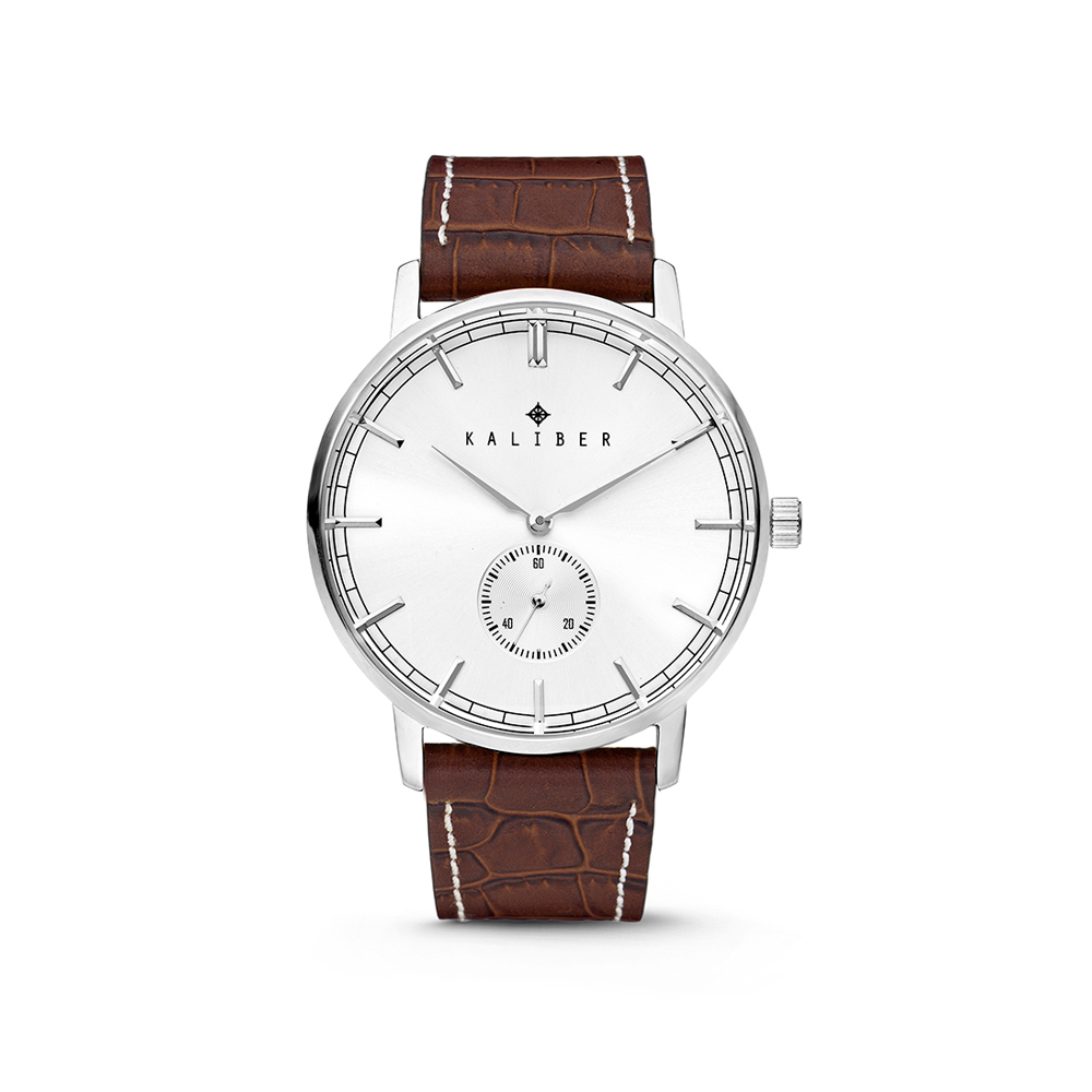 Kaliber Watch With Brown Leather Strap And Steel 40mm Case